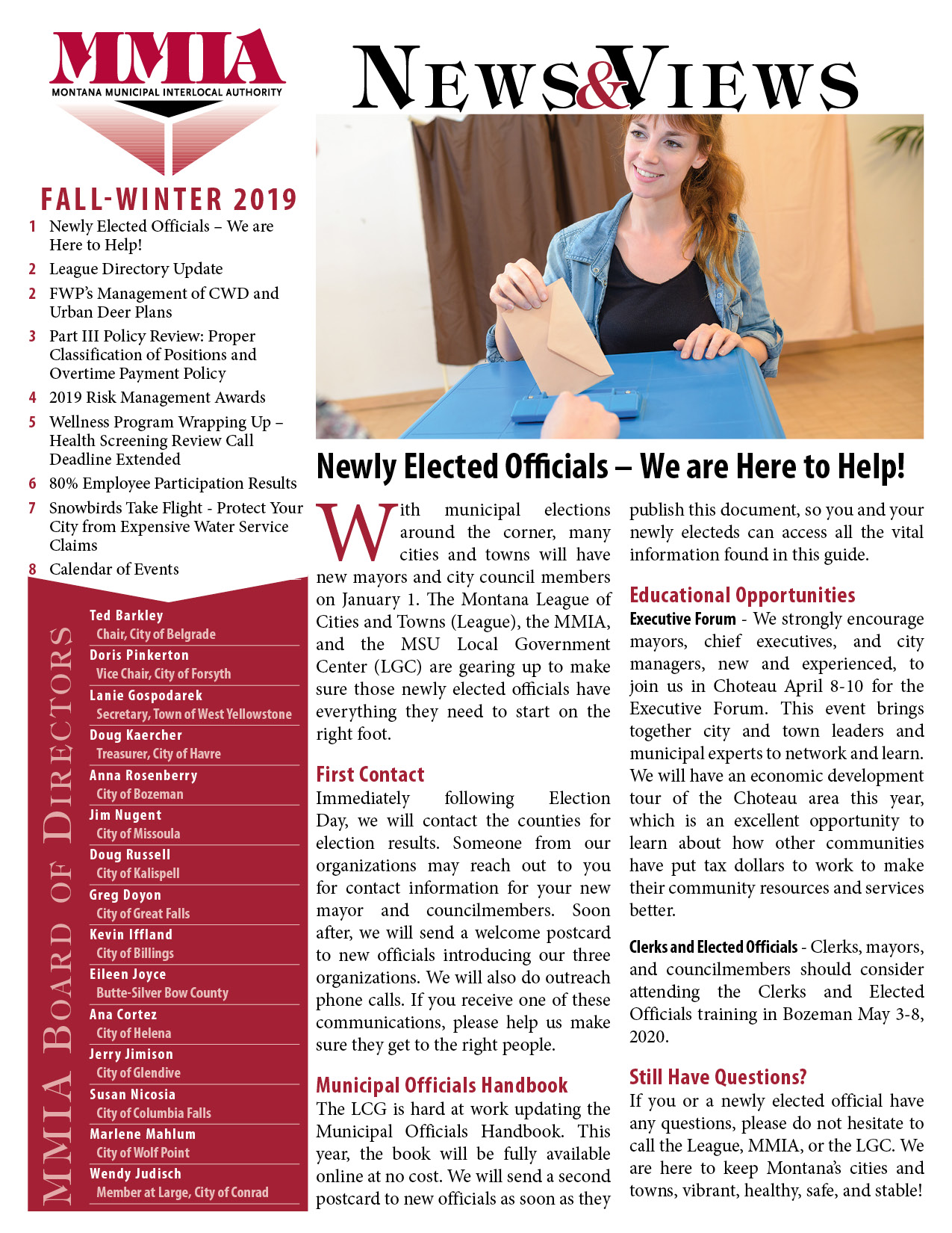 MMIA Fall/Winter Newsletter, 2019